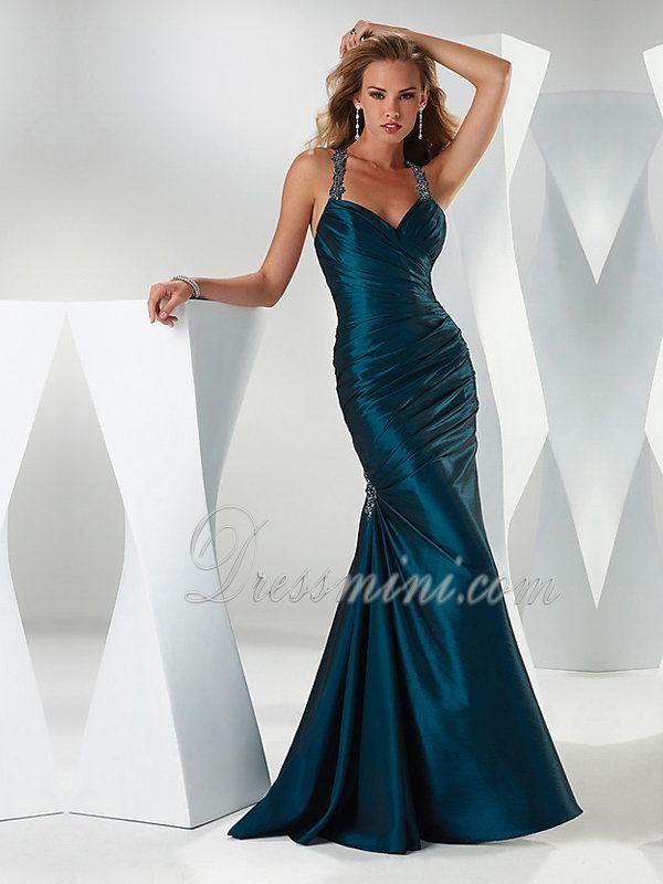 Blue Mermaid/Trumpet Halter Dropped Long/Floor-length Sleeveless Beading Taffeta Prom Dresses Dress