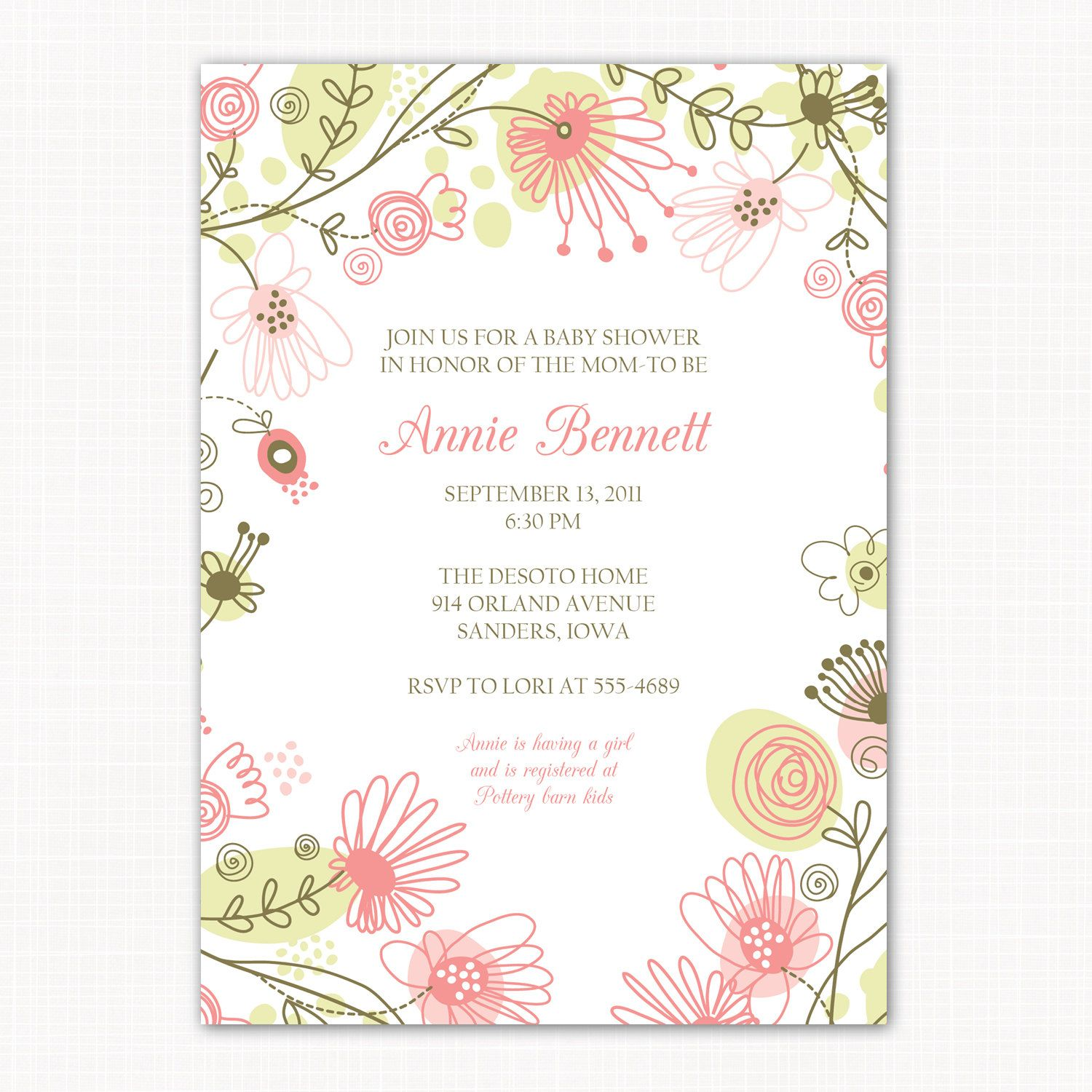 Baby girl shower invitation floral meadow printable baby shower