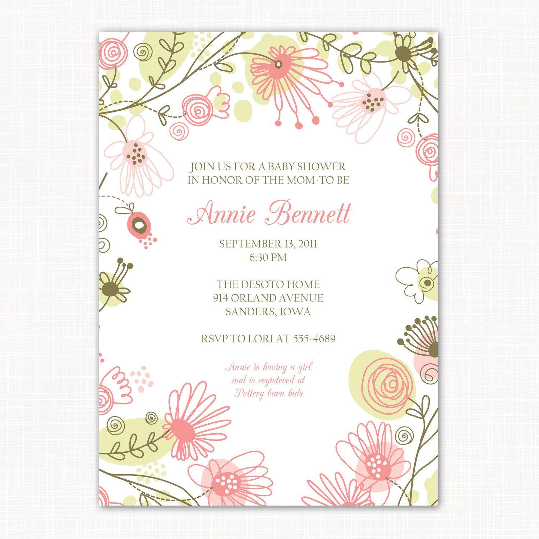 baby girl shower invitation meadow by saralukecreative