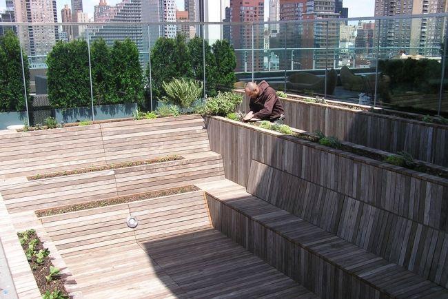 Terrassen » Umgestaltung eines Pools in einen Kräutergarten auf der - umgestaltung krautergarten dachterrasse