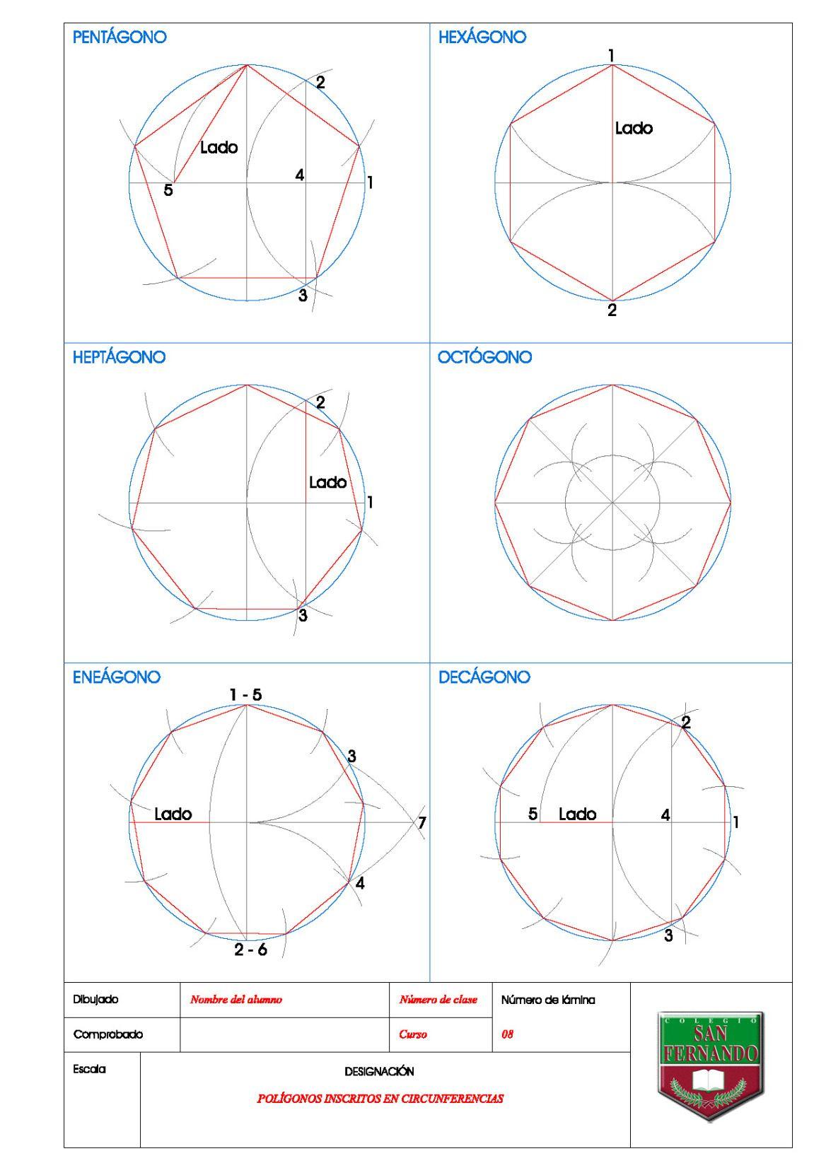 Poligonos Inscritos En Circunferencias Dibujos De Geometria Arte De Geometria Clases De Dibujo Tecnico