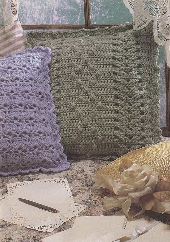 Pillow Crochet Patterns - 3 Designs - Aran, Cables or Shells ...