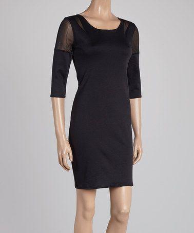 Loving this Black Sheer Cutout Dress on #zulily! #zulilyfinds