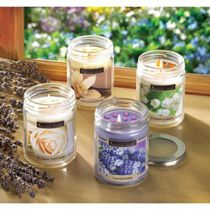 """The aroma of crisp cotton adds open-air freshness to any room! Simply set this candle aglow to savor its uniquely uplifting fragrance that banishes musty odors and brings to mind a sunny summer day. Burns up to 45 hours.7.3 oz. Made in USA. Weight 0.8 lb. 2 7/8"""" diameter x 3 1/2"""" high. Soy blend wax with lidded glass jar.  $12.95 each"""