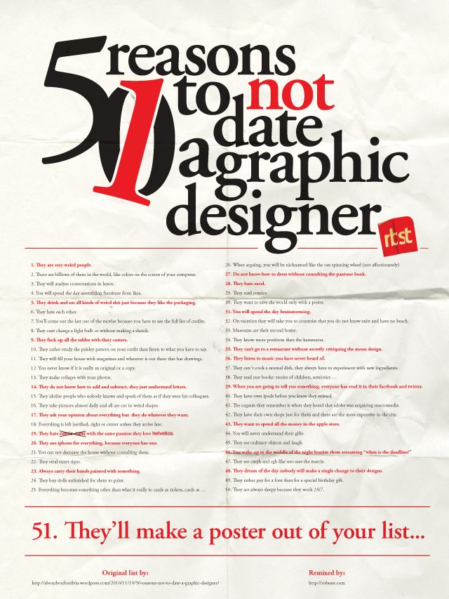 50 reasons for not dating a graphic designer
