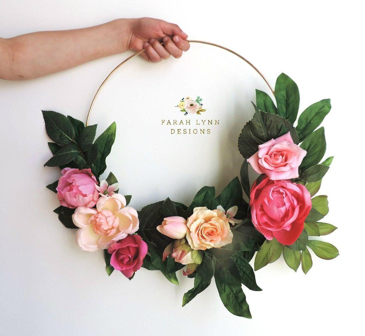 Fl Hoop Bouquet Flower Alternative Wedding Modern Nursery Decor Wall Hanging By Farahlynndesign On