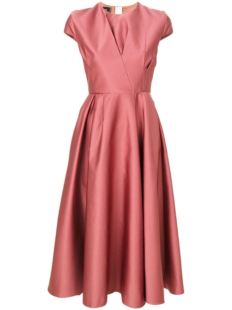 Rochas pleated detail flared dress - Pink
