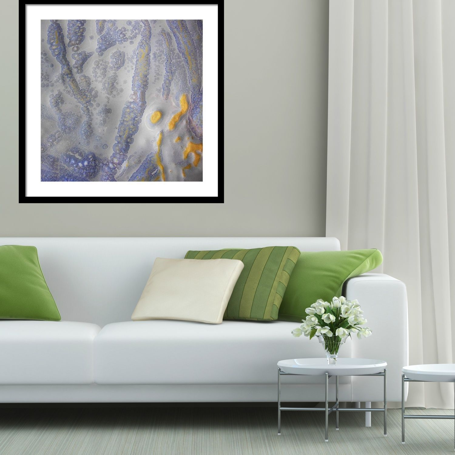 Blue White And Yellow Abstract Framed Prints Rectangle Abstract Wall