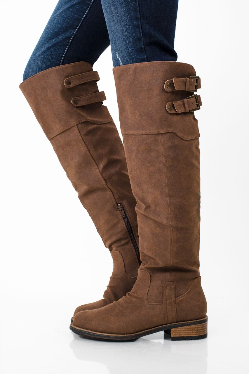 Whiskey Brown Knee High Boots with Back Buckles | a beautiful me ...