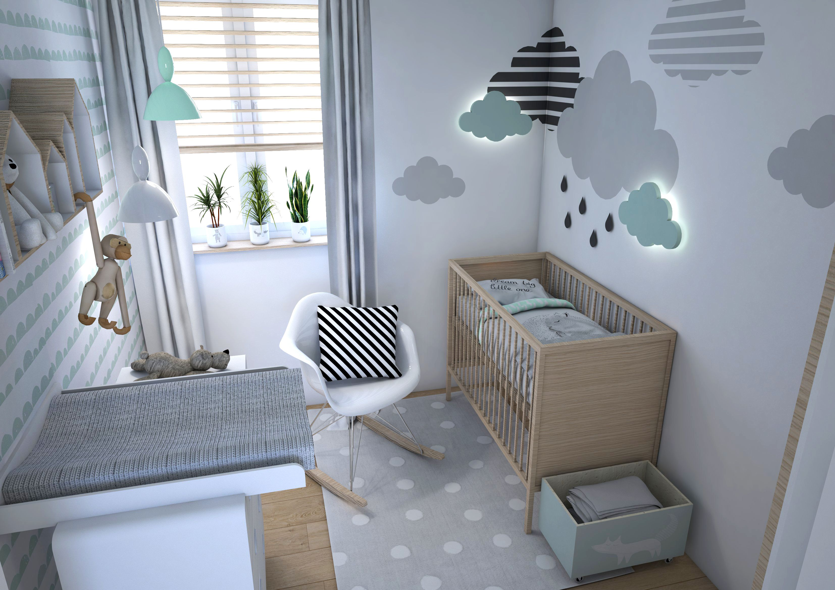 chambre bebe moderne couleur pastel vert d eau gris nuage