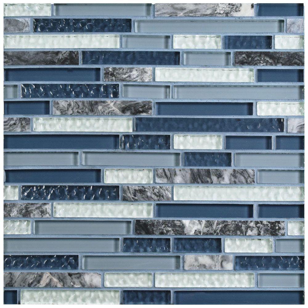 Merola Tile Tessera Piano Gulf 11-3/4 in. x 11-7/8 in. x 8 mm Glass ...