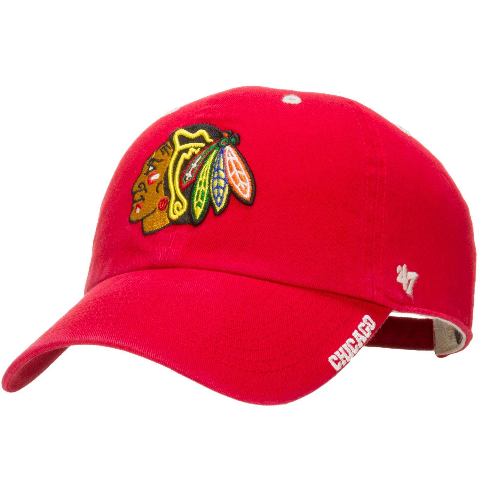 0c6d04f809fe5 Chicago Blackhawks Red Ice Indian Head Logo Clean-Up Adjustable Hat by 47  Brand  Chicago  Blackhawks  ChicagoBlackhawks