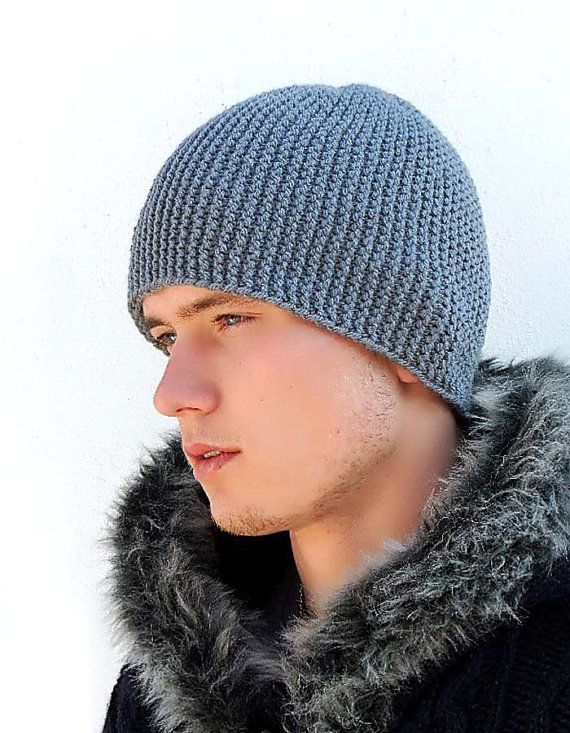Mens Slouchy Beanie Knitting Pattern : Grey Warm Mens Knitted Hat, Winter hat, Mens Knit Hat, Slouchy bean...