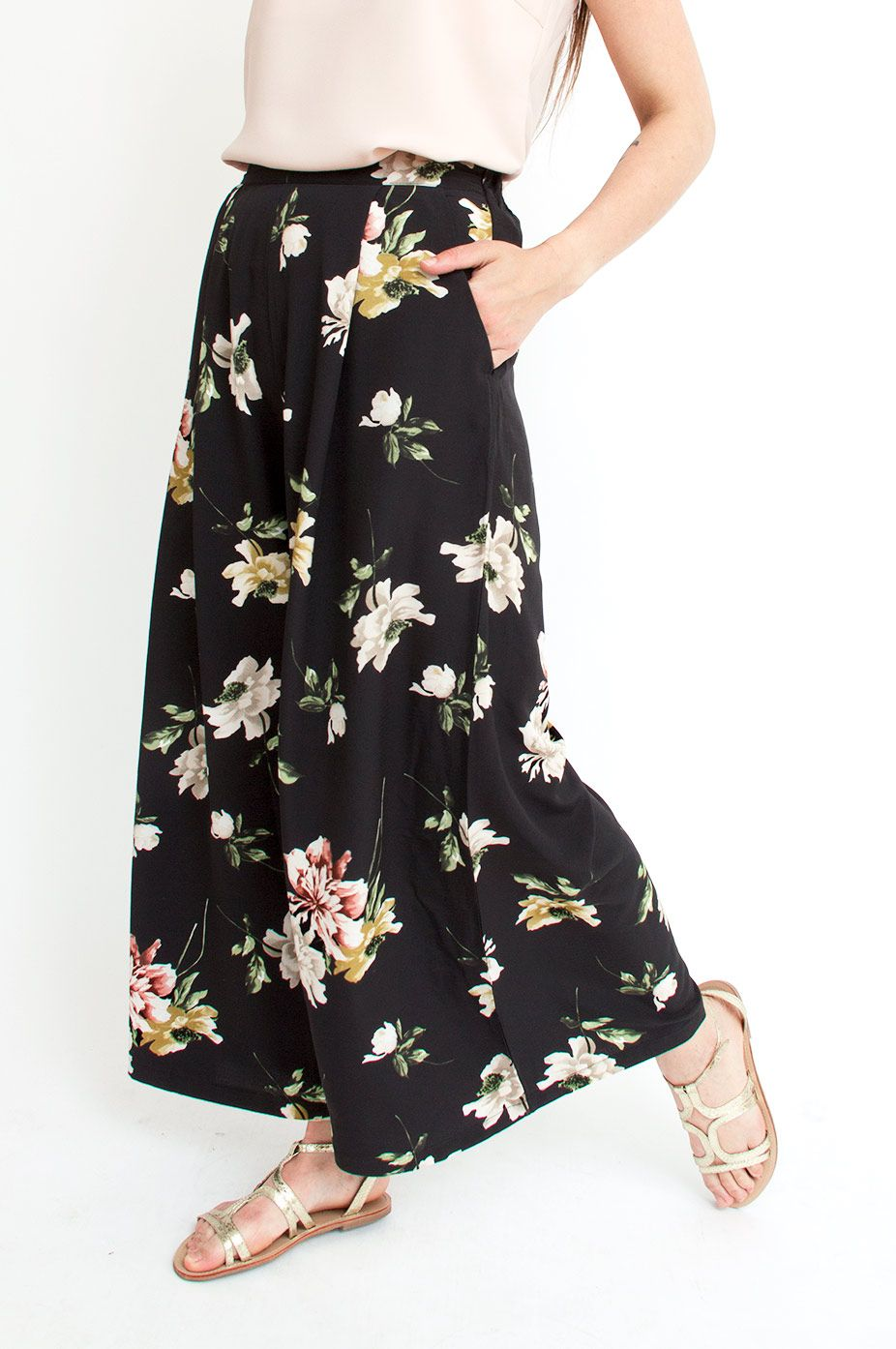 Opt for a look that is as chic as it is lightweight with these black trousers. They are cut in a wide-leg silhouette and features a beautful flower print, side pockets and an elasticated waistband. Wear yours with a simple silk top for guaranteed sophistication. From Sienna With Love.      Available at Sienna Boutique.