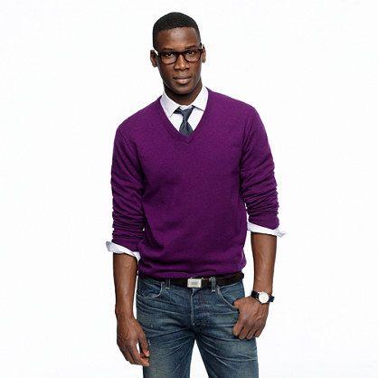 J. Crew Men's Italian Cashmere V neck Sweater (M)