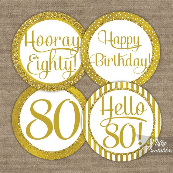 80th Birthday Toppers Gold Cupcake Toppers Gold cupcakes and 80
