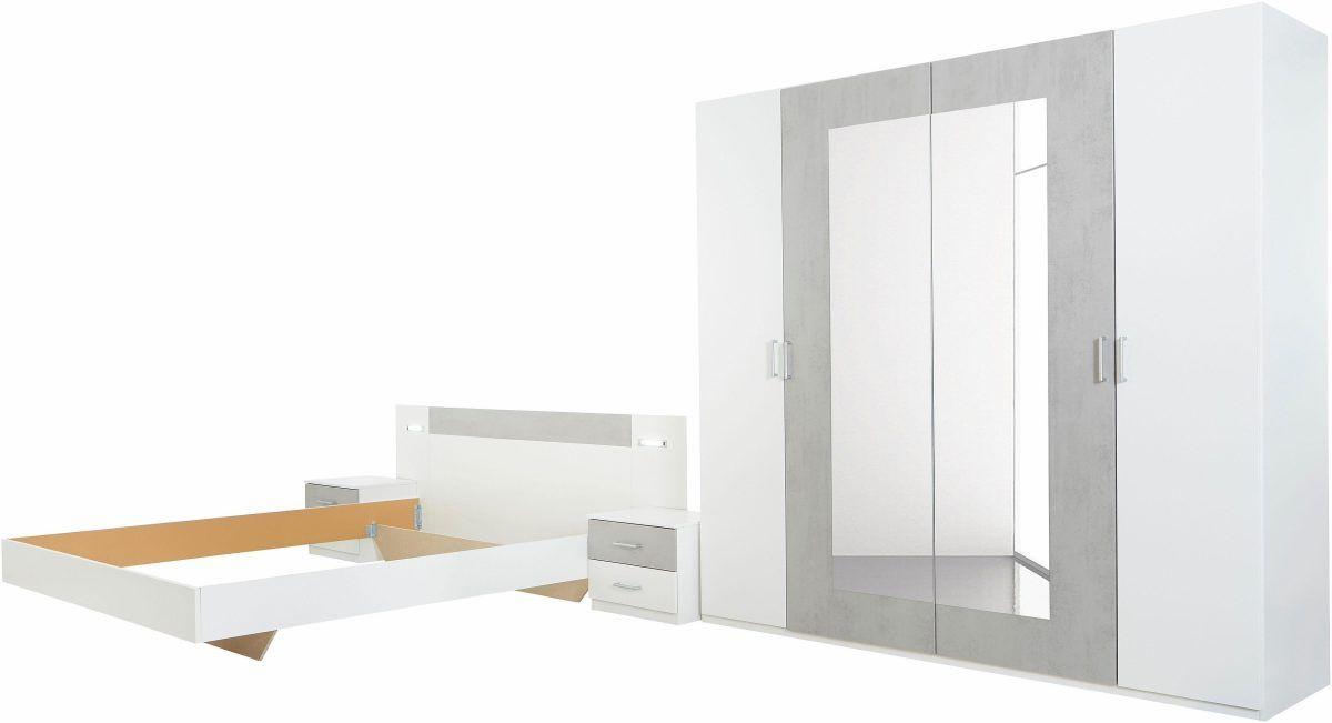 Schlafzimmer-Set weiß, Set mit Kleiderschrank Breite 225 cm, mit - schlafzimmer set 180x200