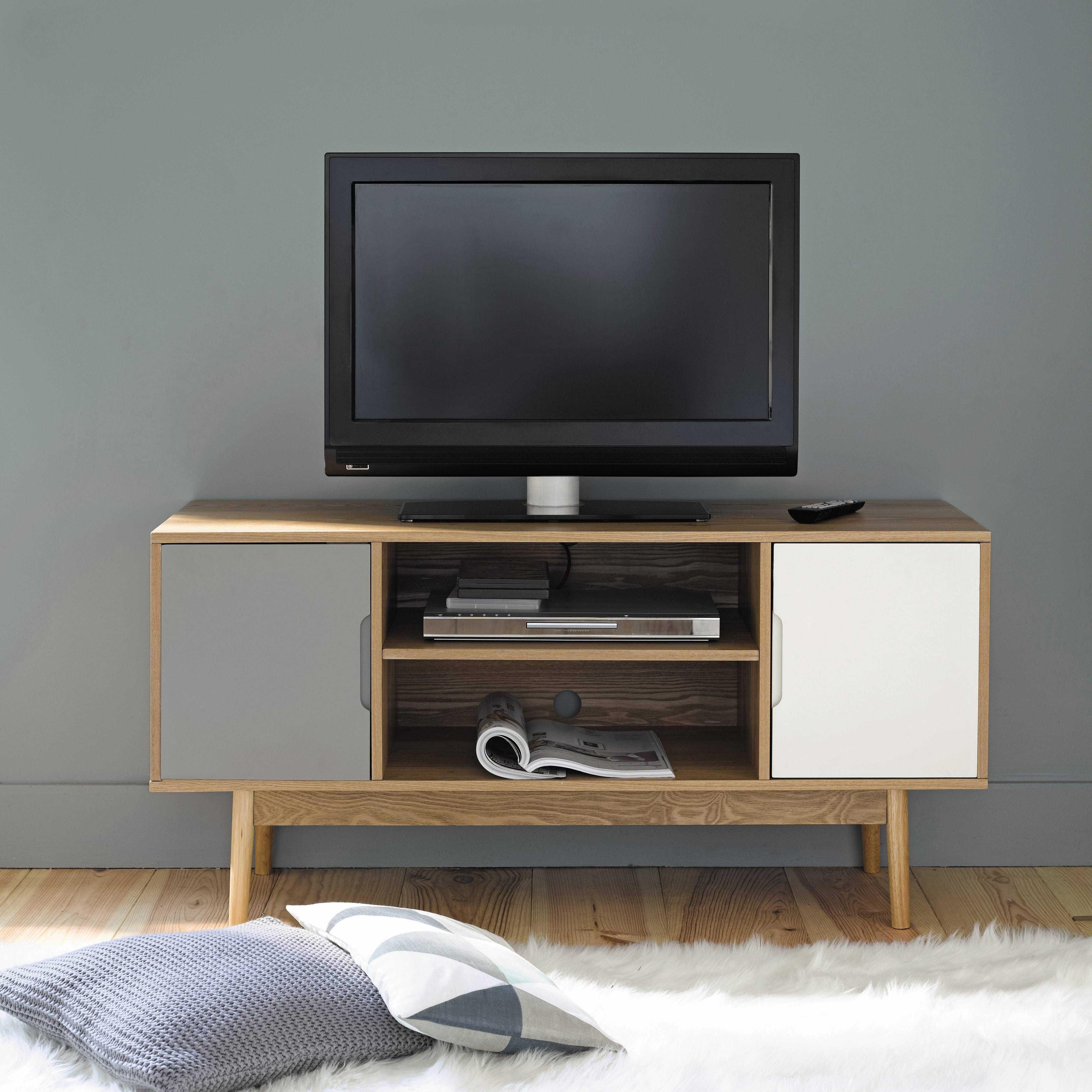TV-Lowboard im Vintage-Stil mit 2 Türen, weiß/grau