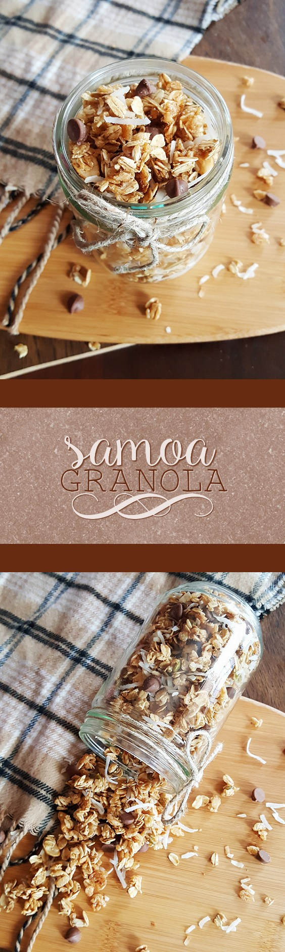 {Healthy, Low Calorie, Vegan} Enjoy a favorite cookie for breakfast with this Samoa granola-- with no oil, no butter, and no guilt!