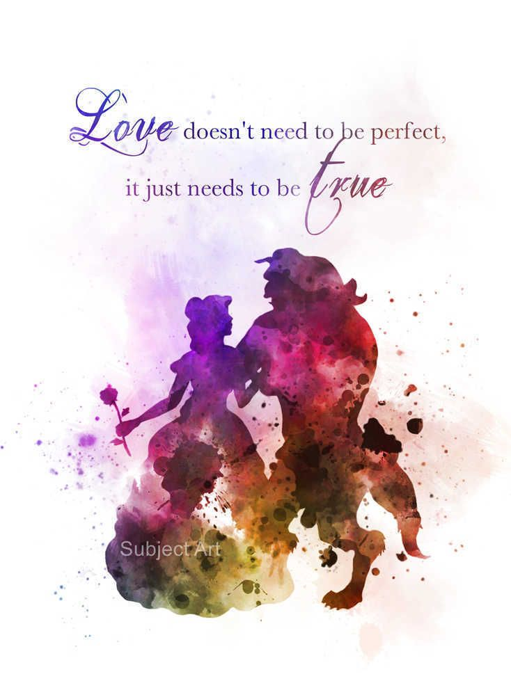 ART PRINT Beauty and the Beast Quote illustration, Disney, Princess, Gift