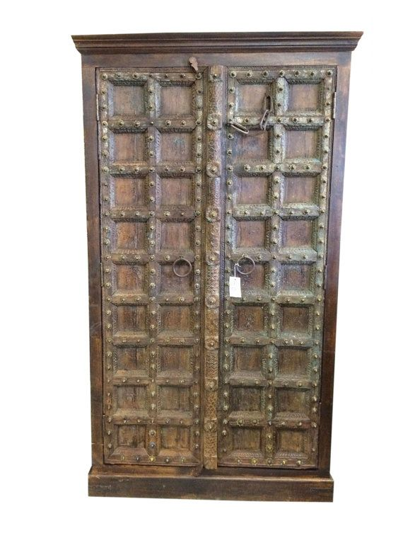 Lovely Rustic Brown Vintage Media Cabinet Armoire Storage By MOGULGALLERY