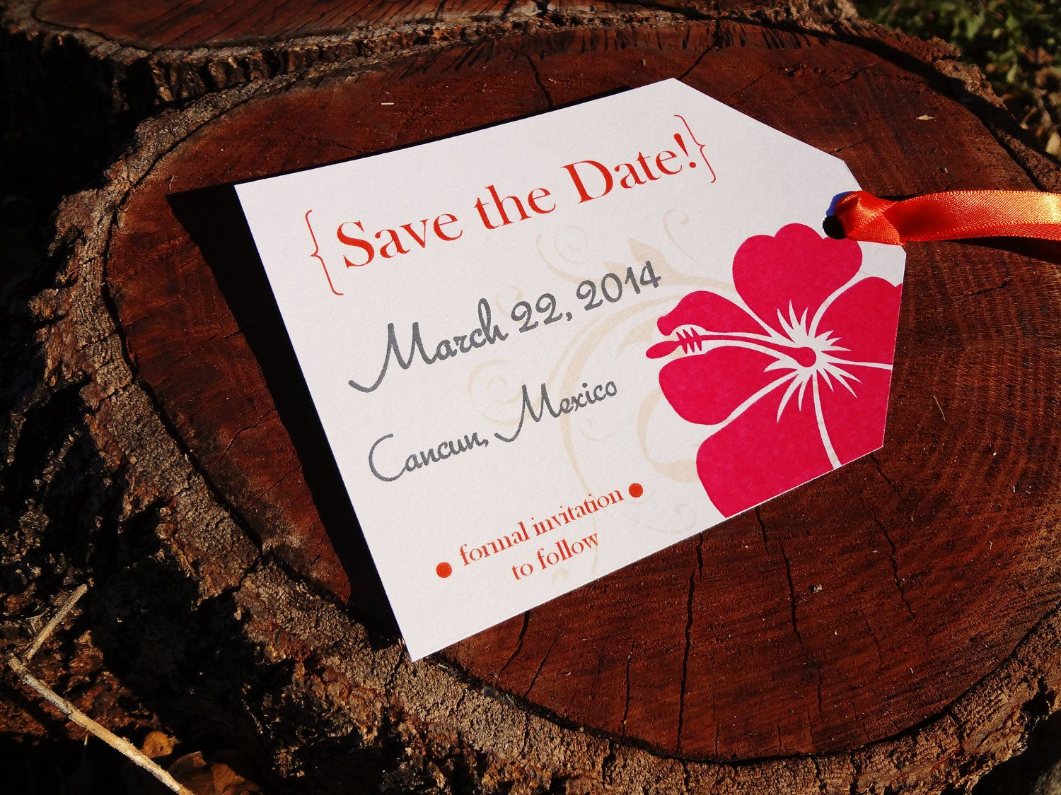 Luggage Tag Save the Dates - Destination Wedding Tropical Hibiscus ...