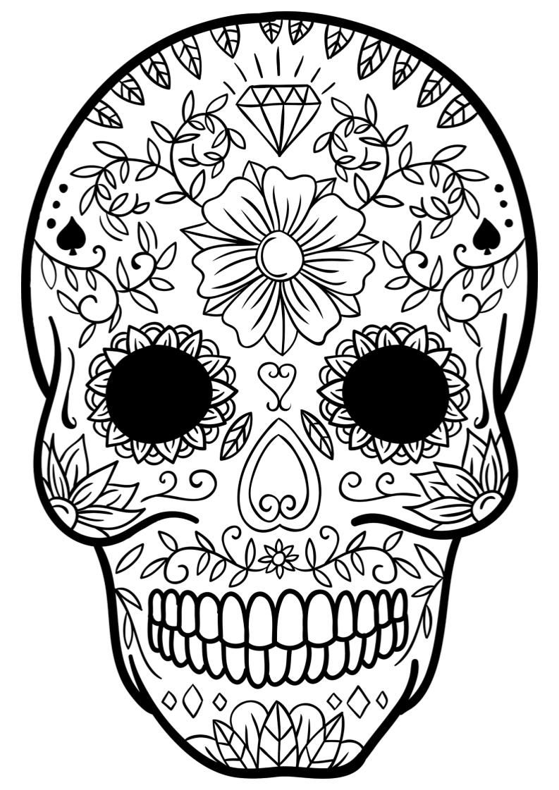 Sugar Skulls Mindfulness Coloring Skull Coloring Pages Coloring