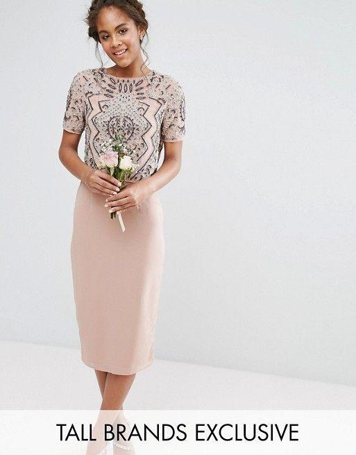 Maya Tall – Kleid mit verzierter Oberlage   Hochzeitsgast Outfits ...