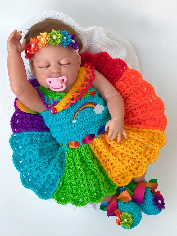 rainbow baby gift crochet outfit for baby girl Rainbow baby romperonesie  newborn coming home outfit Crochet out fit for baby boy