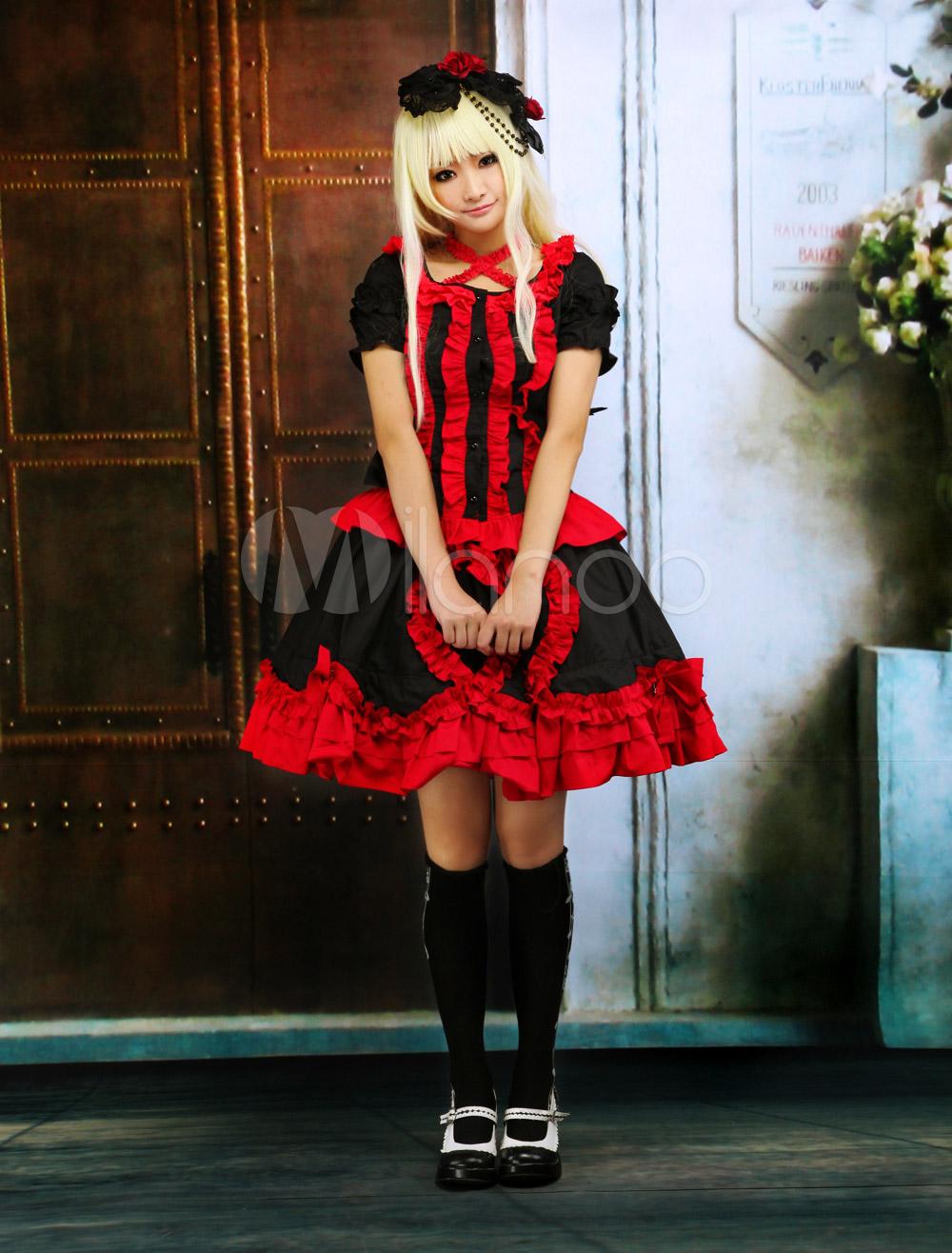 #Milanoo.com Ltd #Lolita One-Piece #Black #Short #Sleeves #Ruffle #Buttons #Cotton #Gothic #Lolita #Dress Black And Red Short Sleeves Ruffle Buttons Cotton Gothic Lolita Dress http://www.seapai.com/product.aspx?PID=5718301