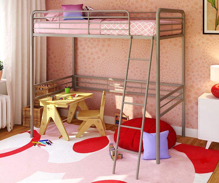 Best Gemma Silver Twin Metal Loft Bed At Big Lots New 640 x 480