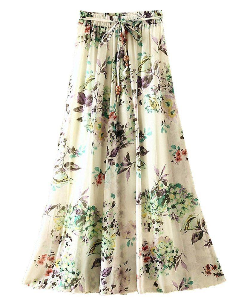 ouye women's summer pleated chiffon maxi skirt | long skirt