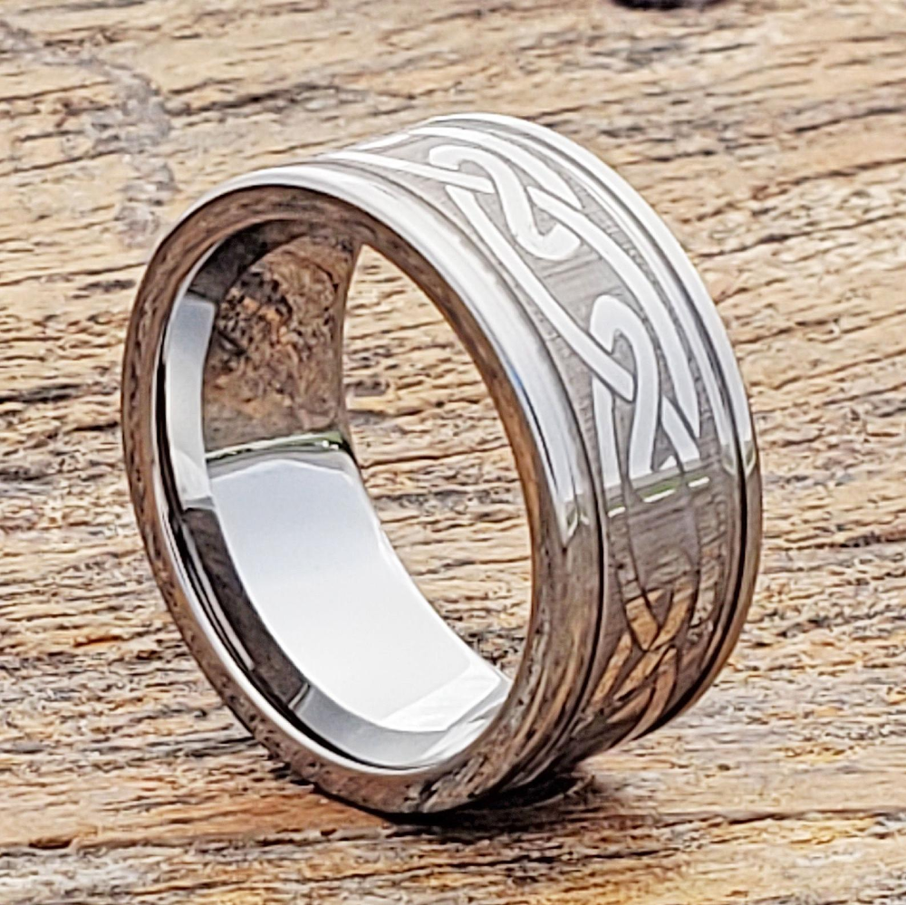 Classic Dome Custom Engraved Tungsten Carbide Ring with Celtic Design Comfort Fit Personalize Rings 8mm Celtic Ring