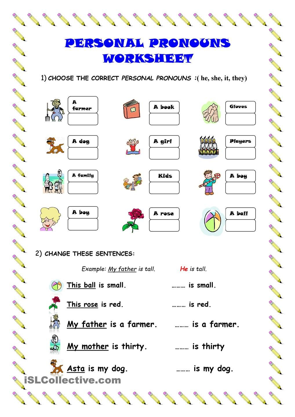 Worksheets Free Pronoun Worksheets personal pronouns worksheet kindergarten level learn english level