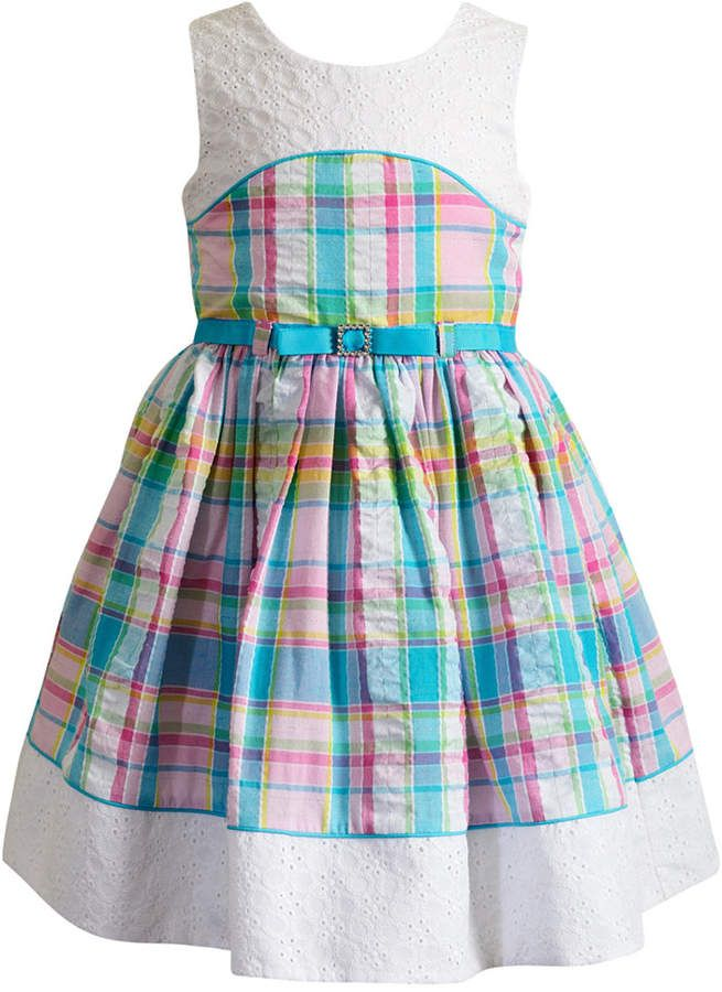Charming Warm Weather Vintage Inspired Frocks Featuring: Sweet Heart Rose Eyelet-Trim Plaid Dress, Toddler Girls