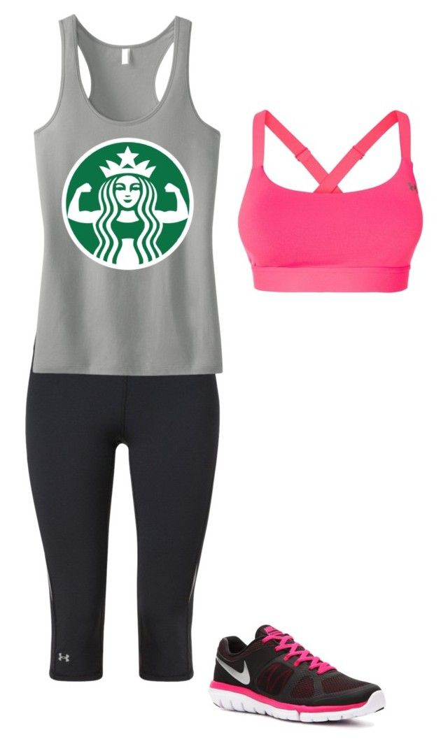 """I work out"" by starbucks-babee ❤ liked on Polyvore featuring Under Armour and NIKE"