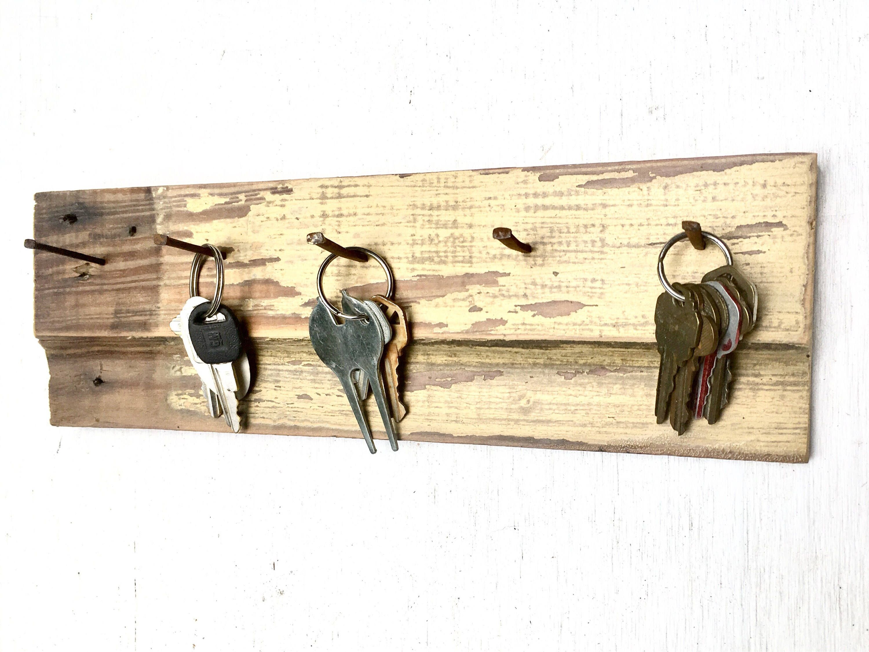 Rustic Reclaimed Wood Key Holder   Key, Cut nails and Ship lap