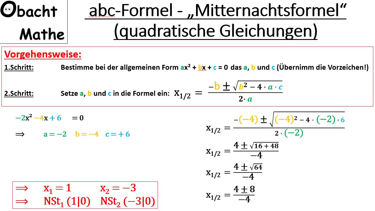 Abc Formel Mitternachtsformel Losen Von Quadratischen Gleichungen Nullstellen Finden Vergleich Zur Pq Formel Einfach Erk Abc Formel Mathe Gleichungen