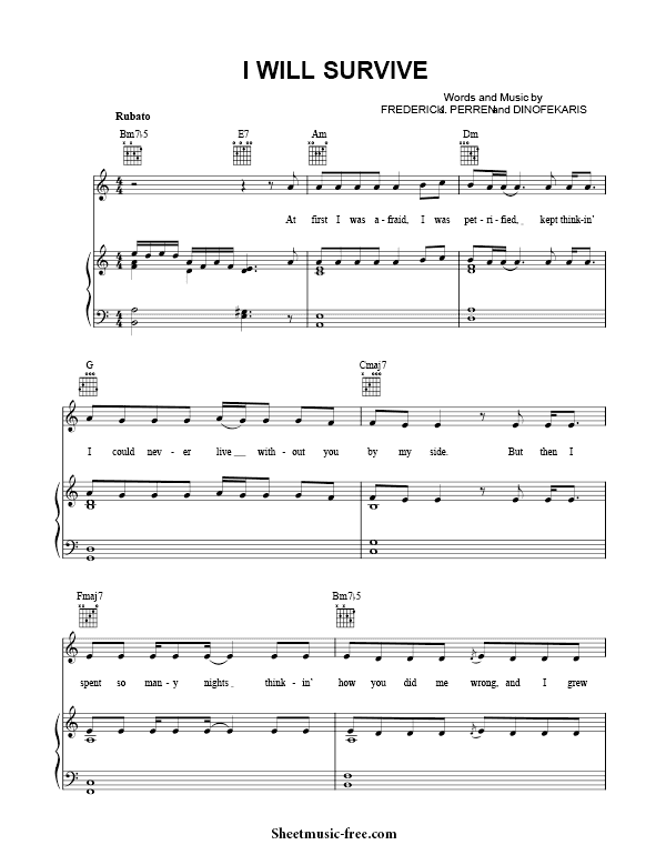 I Will Survive Sheet Music Gloria Gaynor Sheet Music Piano Sheet Music Free Sheet Music Pdf