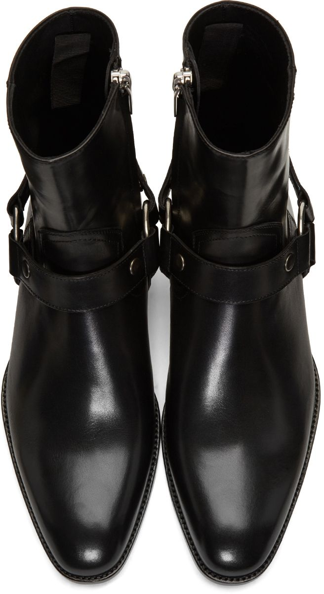 a274e3dded Saint Laurent: Black Leather Wyatt Harness Boots | SSENSE | YSL in ...