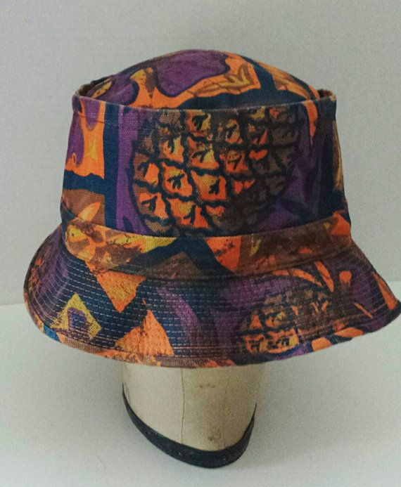 12ddc77fd4a 60s 70s Mens Retro Bucket Hat-Size XL-Tropical Print-Union Label ...