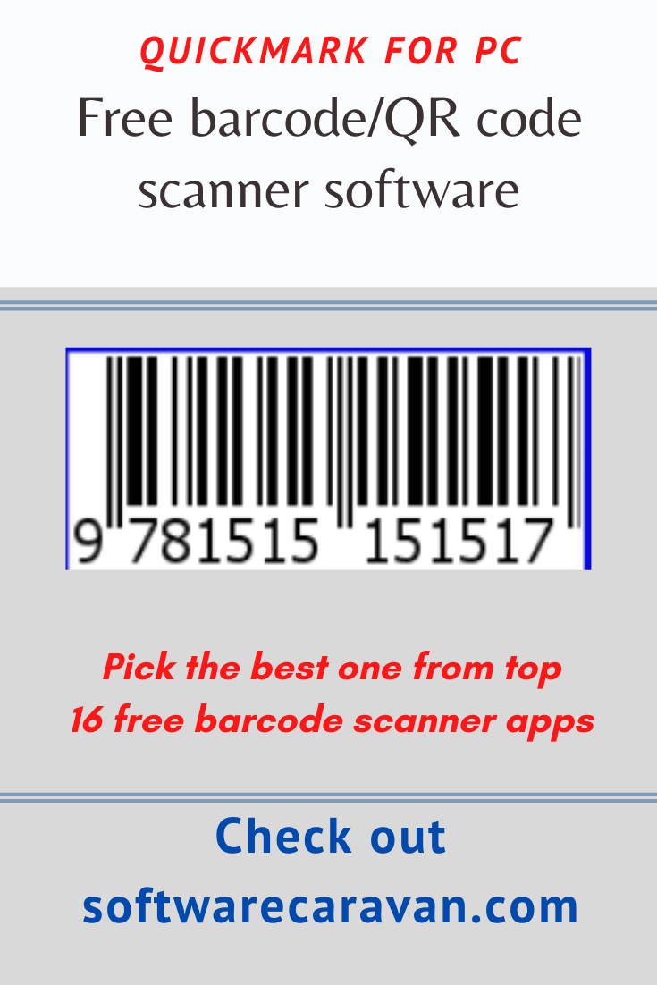 Quickmark For Pc Free Barcode Scanner Tool Barcode Scanner Barcode Scanner App Scanner