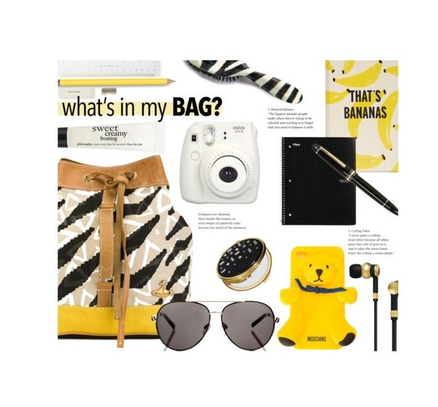 """""""#440 - In My Backpack"""" by lilmissmegan ❤ liked on Polyvore featuring Vivienne Westwood Anglomania, Rock & Ruddle, Moschino, Lipsy, Master & Dynamic, Fujifilm, Kate Spade, Montblanc, philosophy and backpack"""