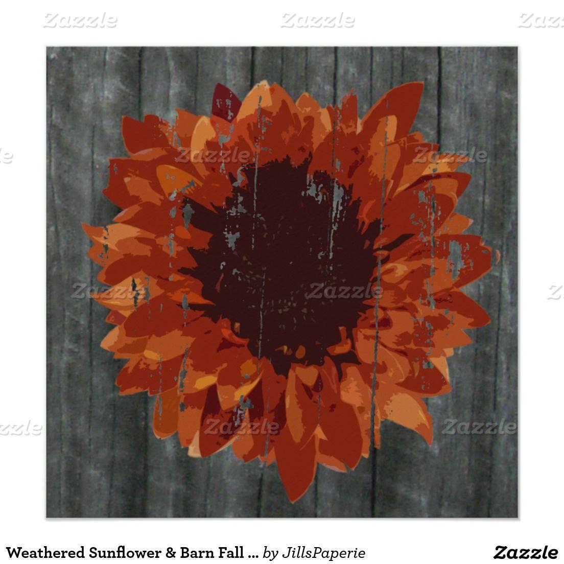 Weathered Sunflower & Barn Fall Wedding Invitation | Sunflowers ...