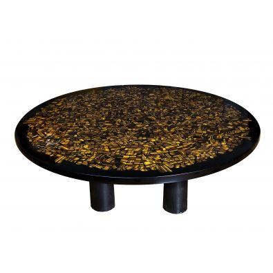 Coffee table in tiger eyes quartz Etienne Allemeersch