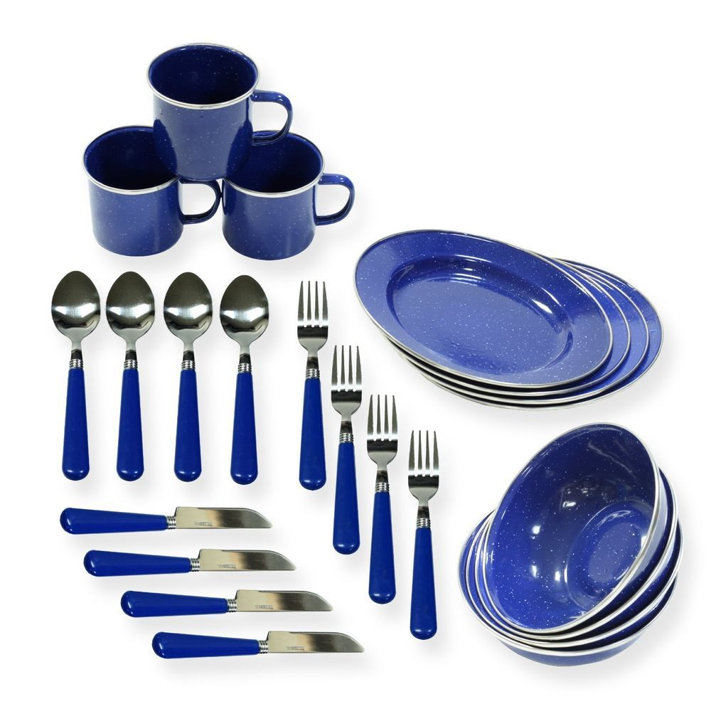 Outdoor Metal Camping Hunting Camp Dishes Plates Cups Silverware Dinnerware Fork