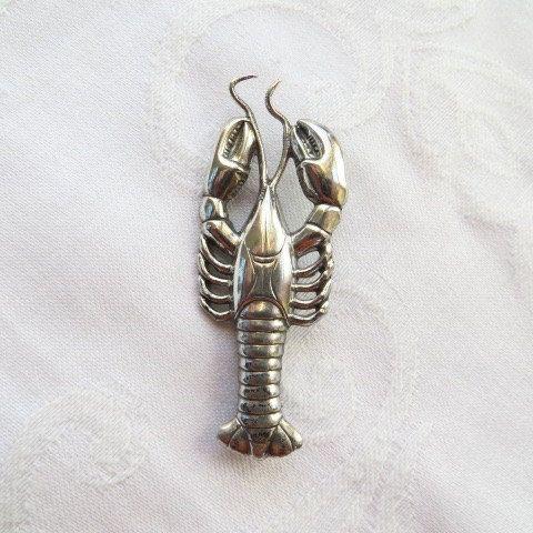 Vintage Sterling Silver Lobster Pin Brooch