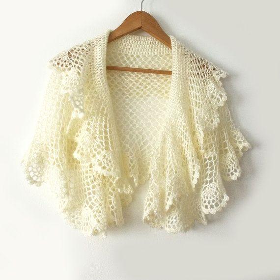 Bridal crochet cape Ivory bridal shawl Wedding dress cover Bridal ...