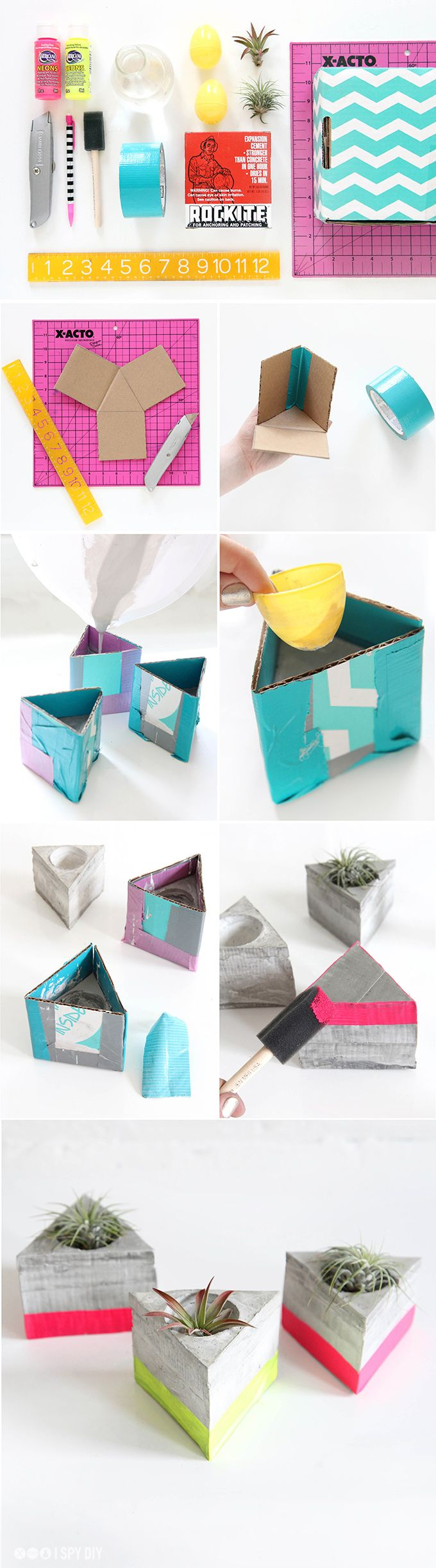 Diy Triangle Cement Air Plant Holder
