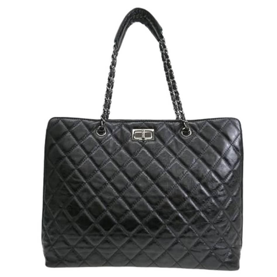Chanel Black Calfskin Quilted Leather Oversize Large Shopper Tote